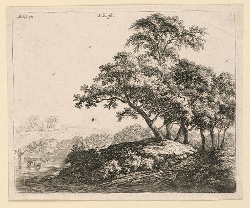 A clump of large trees borders a road, right. In the left distance a herdsman drives sheep across a shallow stream. Print maker: Antoni Waterloo, 1618–1677. Made in: Netherlands. Date: 1650s. Record ID: chndm_1957-41-58.