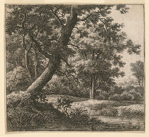 A large tree, at left, bends over a swamp which extends over the entire foreground. Woods and an open landscape, right distance. Print maker: Antoni Waterloo, 1618–1677. Made in: Netherlands. Date: 1650s. Record ID: chndm_1957-41-61.