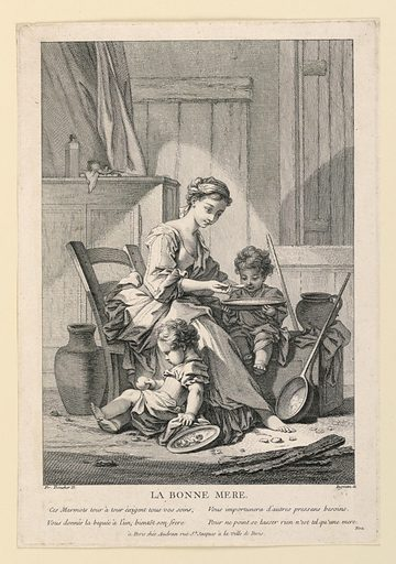 A young barefooted girl is seated in a simple domestic interior, in the act of feeding a child seated on a low box besides her. Another child plays with an apple on the floor. Print maker: John Ingram, British, 18th century. Made in: England. Date: 1750s. Record ID: chndm_1957-41-89.