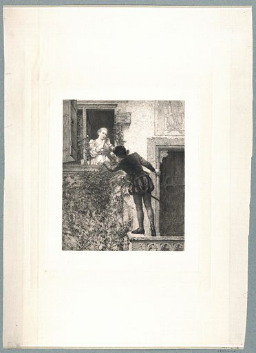 A youth in doublet and hose balances himself on a balcony railing and hands a bouquet to a maiden who stands at a window above. Print maker: Carl Ernst Forberg, German, 1844 – 1915. Made in: Germany. Date: 1880s. Record ID: chndm_1957-61-18.