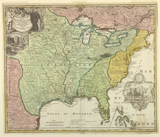 Map of Louisiana shows the Eastern part of the United States up to Canada; different colors are used for Louisiana (green), Eastern States (yellow), New Mexico (pink) and Canada (pink). On upper left corner, title of map embellished with an allegorical figure; below view of Niagara Falls. In lower right corner, a vignette with the coat-of-arms of Lns. Gall Societatis Indiae Occidentalis and below and Indian man and woman with a bull. (OPB '59). Made in: Germany. Date: 1710s. Record ID: chndm_1959-49-198.
