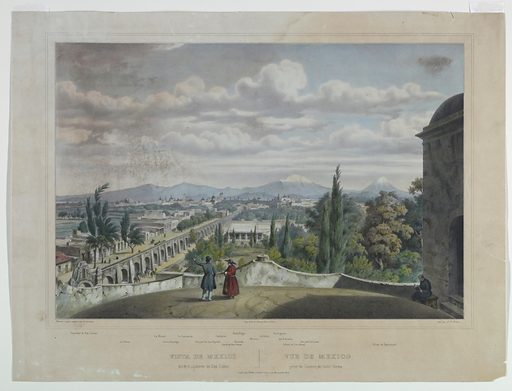 Panoramic view of Mexico City, with the Aqueduct de San Cosmé at the left and Mount Popocatepetl at right. Below, monuments indicated, and title in French and Spanish; also artists' and publisher's names. Print maker: Félix Achille Saint-Aulaire, French, 1801 – after 1838. Made in: Paris, France. Date: 1830s. Record ID: chndm_1961-105-142.