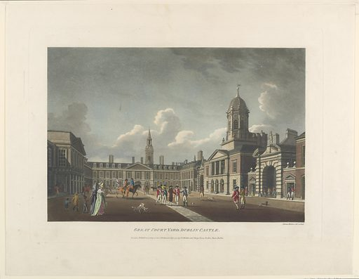 Soldiers and other figures are seen in the castle courtyard. At right, a building with cupola, flanked by gates. Below, title, artist's and publisher's names and the date. Print maker: James Malton, English, 1761 – 1803. Made in: England. Date: 1790s. Record ID: chndm_1961-105-143.