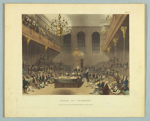 Meeting room with benches in balconies and underneath them. Table in center with clerks and a speaker. Title, artists', and publisher's names below. Print makers: Thomas Rowlandson, British, 1756–1827; Augustus Charles Pugin, French, active Great Britain, ca. 1762–1832. Made in: Europe. Date: 1800s. Record ID: chndm_1961-105-240.