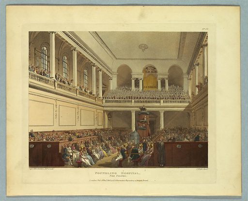 View of a filled chapel, facing the door. The pulpit, with three men in it, is in front of the door. Above, a filled choir loft. Title, artists', and publisher's names below. Print makers: Thomas Rowlandson, British, 1756–1827; Augustus Charles Pugin, French, active Great Britain, ca. 1762–1832. Made in: Europe. Date: 1800s. Record ID: chndm_1961-105-251.