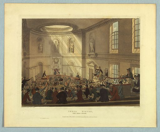 Oval room with statues in niches above the auctioneer's or moderator's desk, in rear. Customers on benches, sloping up to the back, in the foreground. Title, artists', and publisher's names below. Print makers: Thomas Rowlandson, British, 1756–1827; Augustus Charles Pugin, French, active Great Britain, ca. 1762–1832. Made in: Europe. Date: 1800s. Record ID: chndm_1961-105-258.