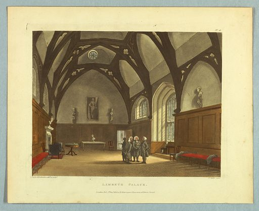 Room with wooden timbers as Gothic arches, busts and stained glass windows. Five men in black suits and wigs, center right. Title, artists', and publisher's names below. Print makers: Thomas Rowlandson, British, 1756–1827; Augustus Charles Pugin, French, active Great Britain, ca. 1762–1832. Made in: Europe. Date: 1800s. Record ID: chndm_1961-105-261.
