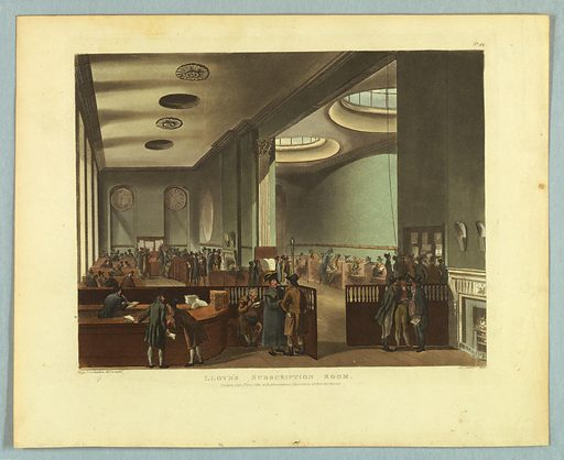Double hall, with high backed benches and tables along the walls. A high railing in the foreground, with men reading and talking. Title, artists', and publisher's names below. Print makers: Thomas Rowlandson, British, 1756–1827; Augustus Charles Pugin, French, active Great Britain, ca. 1762–1832. Made in: Europe. Date: 1800s. Record ID: chndm_1961-105-262.