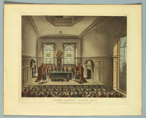Foreground onlookers; then three rows of men in a pit, with tally sheets. The lottery game on stage above, with judges and callers. Title, artists', and publisher's names below. Print makers: Thomas Rowlandson, British, 1756–1827; Augustus Charles Pugin, French, active Great Britain, ca. 1762–1832. Made in: Europe. Date: 1800s. Record ID: chndm_1961-105-266.