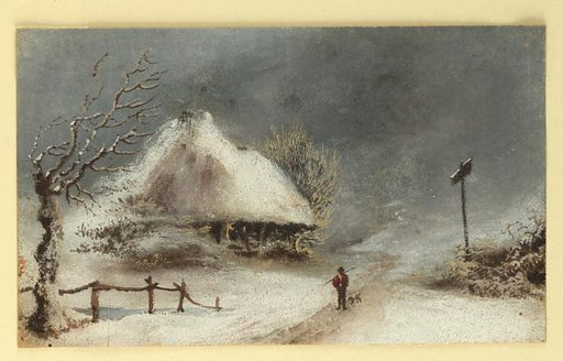 A man and a dog are seen on a road near a thatched cottage in the snow. Gnarled tree and fence, left signpost, right. Made in: England and Germany. Date: 1820s. Record ID: chndm_1961-105-28.