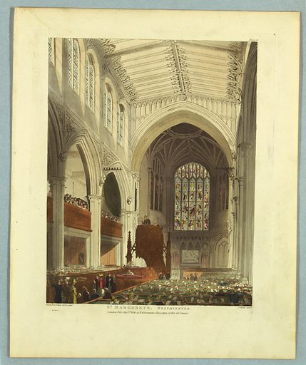 Gothic interior of a chapel, seen from right of the entrance. Pews are filled. Pulpit at the left center. Stained glass window above the altar. Title, artists', and publisher's names below. Print makers: Thomas Rowlandson, British, 1756–1827; Augustus Charles Pugin, French, active Great Britain, ca. 1762–1832. Made in: Europe. Date: 1800s. Record ID: chndm_1961-105-287.
