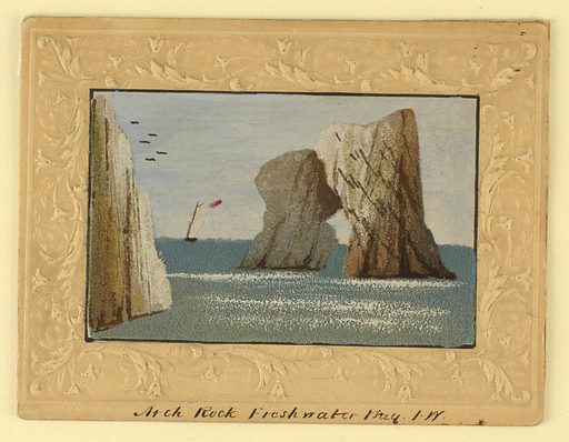 A liff, left, and a pierced rock, right, enframe a sailboat in the distance. Embossed paper frame. Title and artist's initials inscribed below, in ink. Made in: England and Germany. Date: 1820s. Record ID: chndm_1961-105-29.
