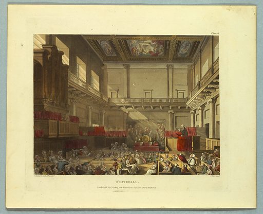 Altar at center rear, with painting behind it. Minister in pulpit to the right. Congregation in box pews in foreground. Title, artists', and publisher's names below. Print makers: Thomas Rowlandson, British, 1756–1827; Augustus Charles Pugin, French, active Great Britain, ca. 1762–1832. Made in: Europe. Date: 1800s. Record ID: chndm_1961-105-303.