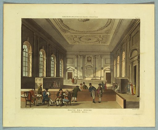 A large room, with pillars and deep windows. A few people, one at a table in the left foreground, writing. Title, artists', and publisher's names below. Print makers: Thomas Rowlandson, British, 1756–1827; Augustus Charles Pugin, French, active Great Britain, ca. 1762–1832. Made in: Europe. Date: 1810s. Record ID: chndm_1961-105-309.