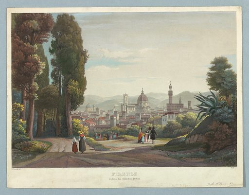 View of Florence from the Boboli Gardens. The city, center. A path into woods, left, and others, with strollers, center. Title, artists', and publisher's names below. Print maker: Johannes Ruff, Swiss, 1813 – 1886. Made in: Europe. Date: 1840s. Record ID: chndm_1961-105-319.
