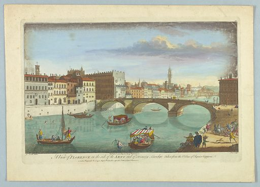 Both banks and two bridges of the Arno can be seen. Open and covered gondolas and small sailboats on the river. Title, artists', and publisher's names below. Print maker: Nathaniel Parr, British, active 1742 – 1751. Made in: Europe. Date: 1740s. Record ID: chndm_1961-105-323.