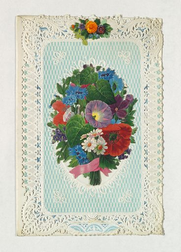 """On cover, bunch of flowers in the center. Inside, oval frame, left blank, and sticker inscribed: """"I love thee my sweetheart"""". Enframement of blue and white embossed paper. Made in: United States. Date: 1840s. Record ID: chndm_1961-105-43."""
