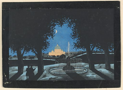 Two figures silhouetted in the foreground near a fountain, with Rome in the distance. Crescen moon cut out. St. Peter's pricked. Verso covered with thin paper. Made in: Augsberg, Germany. Date: 1780s. Record ID: chndm_1961-105-6.