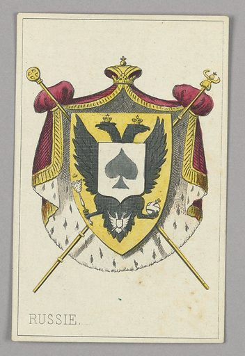 """Russia, Ace of Spades from Set of """"Jeu Imperial–Second Empire–Napoleon III"""" Playing Cards. Made in: Paris, France. Date: 1850s. Record ID: chndm_1961-105-63-14."""