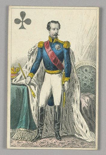"""Napoleon III, Emperor of France, King of Clubs from Set of """"Jeu Imperial–Second Empire–Napoleon III"""" Playing Cards. Made in: Paris, France. Date: 1850s. Record ID: chndm_1961-105-63-2."""