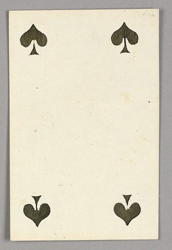 """Four of Spades from Set of """"Jeu Imperial–Second Empire–Napoleon III"""" Playing Cards. Made in: Paris, France. Date: 1850s. Record ID: chndm_1961-105-63-20."""