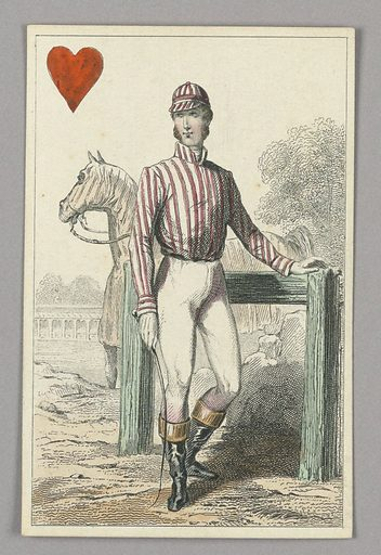 """English Jockey, Jack of Hearts from Set of """"Jeu Imperial–Second Empire–Napoleon III"""" Playing Cards. Made in: Paris, France. Date: 1850s. Record ID: chndm_1961-105-63-30."""