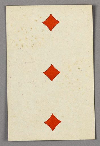 """Three of Diamonds from Set of """"Jeu Imperial–Second Empire–Napoleon III"""" Playing Cards. Made in: Paris, France. Date: 1850s. Record ID: chndm_1961-105-63-45."""