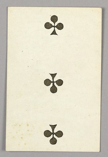 """Three of Clubs from Set of """"Jeu Imperial–Second Empire–Napoleon III"""" Playing Cards. Made in: Paris, France. Date: 1850s. Record ID: chndm_1961-105-63-6."""