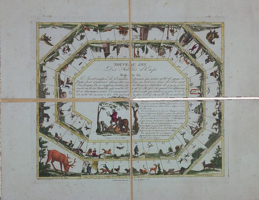 Two rows of vignettes arranged in spiral around a central zone. Each vignette with title of fable and a number. Four more fables at the corners. In the lower left center, Aesop composing his fables. Foldes into quarters. Made in: Paris, France. Date: 1800s. Record ID: chndm_1961-105-64.