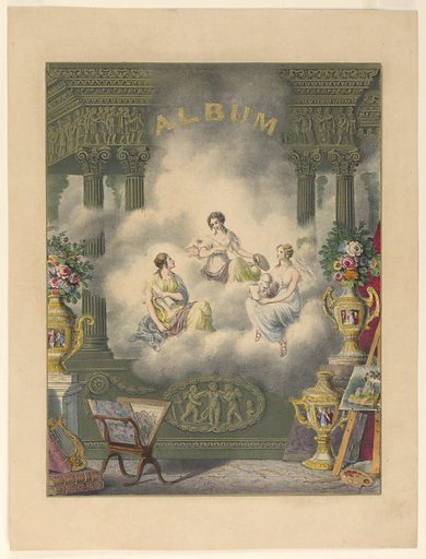 """The Three Fates are seated on a cloud in an architectural enframement. Below, symbols of the arts. At top: """"ALBUM"""" in gold letters. Made in: England. Date: 1830s. Record ID: chndm_1961-105-75."""