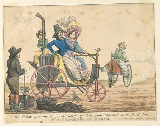 "Two steam-driven carriages pass a coal-vendor. Below, title, publisher's name and date, and ""I say Fellow, give my Buggy a charge of Coke, your Charcoal is so D--d dear"". Made in: England. Date: 1820s. Record ID: chndm_1961-105-97."