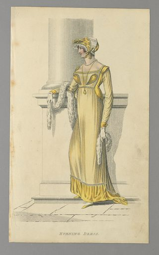 Woman st anding by the base of a pillar, facing towards the left. She wears an ankle-length yellow dress; a yellow bonnet with white lace, and a white fur. Title below. Made in: London, England. Date: 1810s. Record ID: chndm_1962-143-1.