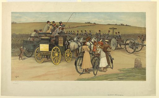 A field with infantry and horse troops. In the foreground, a London and Brighton coach, women with bicycles, and a cannon. Artist's name, lower left. Below in graphite, and the date, title and publisher's name. Print maker: Albert Ludovici. Made in: London, England. Date: 1900s. Record ID: chndm_1962-143-100.