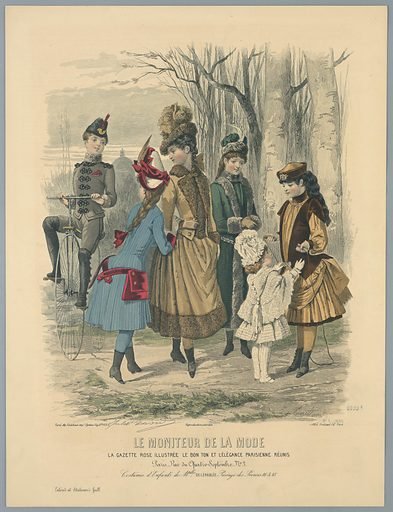 Four young women, one with a jump rope, right; a young man, left, on a bicycle, and a small child in white. Trees and a building beyond. Description on verso. Artists' and publisher's names, title and date, below. Print maker: E. Gailland, French, active 19th c. Made in: Paris, France. Date: 1880s. Record ID: chndm_1962-143-106.