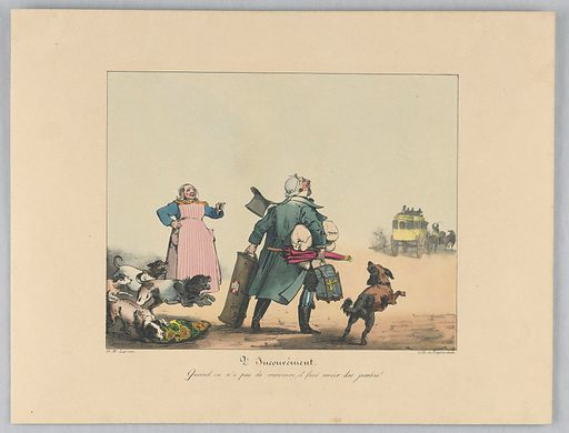 Men carrying a bird in a cage, an umbrella, and luggage has missed the coach, beyond. A woman, left, and five dogs. Title and artists' names below. Print maker: Gottfried Engelmann, 1788 – 1839. Made in: Paris, France. Date: 1820s. Record ID: chndm_1962-143-109.