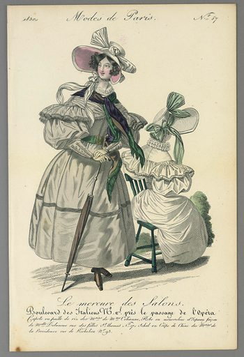 Two women in walking dresses. One stands left, wearing a gray dress and pink lined bonnet, and holding an umbrella. The other, in white, sits right. Title above and below. Made in: Paris, France. Date: 1830s. Record ID: chndm_1962-143-13.