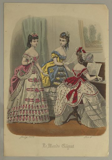 Three young women, the one at right in red and white, at a piano. One at left, in pink and white; center, in gray, blue, and yellow dress with black lace. Title and date below. Made in: Paris, France. Date: 1870s. Record ID: chndm_1962-143-23.