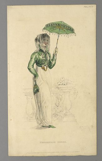 Woman standing by a railing, facing slightly to the right. She wears a white dress, with green jacket and parasol. Title and publisher's name below. Made in: London, England. Date: 1810s. Record ID: chndm_1962-143-3.