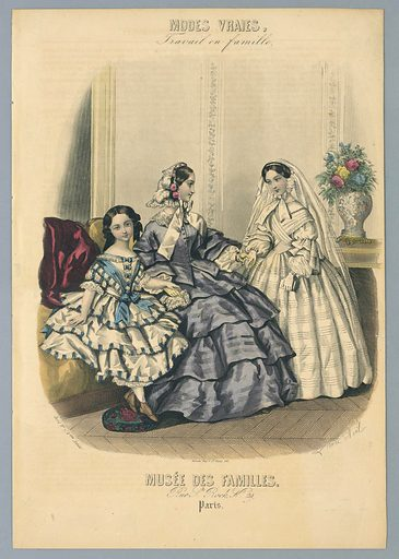 Young girl in blue and white, and young woman in violet, both seated on a couch, left. Girl in white confirmation dress, right. Artists' and publishers' names below. Description on verso. Made in: Paris, France. Date: 1850s. Record ID: chndm_1962-143-35.