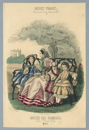 Woman and two children on a wooden bench in a park. A tree overhead, and a chateau beyond, left. Artist's and publisher's names below. Description on verso. Made in: Paris, France. Date: 1850s. Record ID: chndm_1962-143-38.