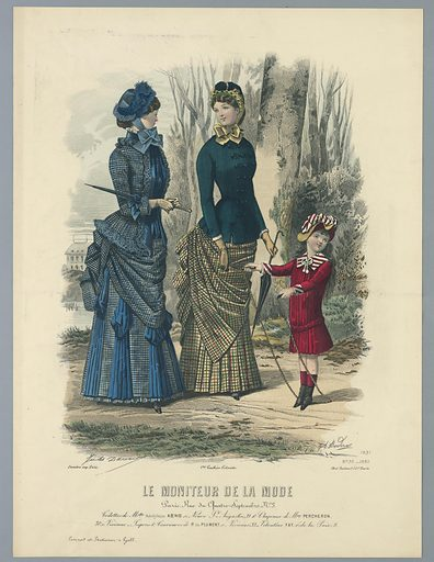 Two women walking in the woods, with a child in red with a jumprope. A house beyond, left. Artists' and publisher's names and date below. Description on verso. Print maker: A. Bodin, French, active 19th c. Made in: England. Date: 1880s. Record ID: chndm_1962-143-41.