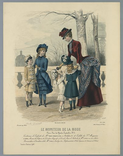 A woman with four children by a railing, with trees and buildings beyond. Artists' and publisher's names and date below. Description on verso. Print maker: E. Cheffen, French, active 19th c. Made in: England. Date: 1880s. Record ID: chndm_1962-143-45.