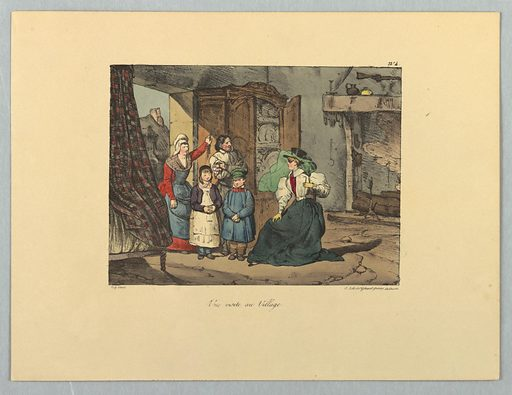 Peasant family in the doorway, left, of a cottage. Gentlewoman seated, facing them, center. Title, artists'' names below. Print maker: Gihaut Frères, French, 1815 – 1871. Made in: Paris, France. Date: 1820s. Record ID: chndm_1962-143-58.