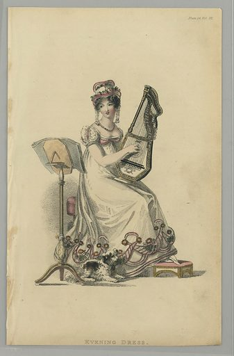 A woman sits playing a small harp; a dog by her side. She wears a white dress and hat, with pink trim and yellow and green flowers. Title below. Made in: London, England. Date: 1810s. Record ID: chndm_1962-143-6.