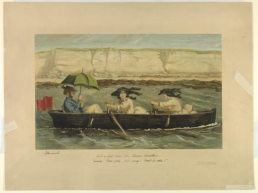 Two girls rowing a rowboat, while a young man in the stern sits under a green umbrella. Sand bluffs beyond. Title and comment, artist's and publisher's names and date below. Print maker: John Leech, English, 1817 – 1864. Made in: London, England. Date: 1860s. Record ID: chndm_1962-143-76.