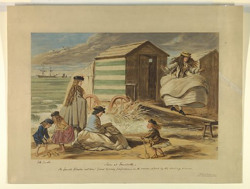 Right, a girl walking a plank, before a beach house. Left, the ocean and a boat; beyond, a woman, a girl, and three younger children. Title and comment, artist's and publisher's names and date below. Print maker: John Leech, English, 1817 – 1864. Made in: Paris, France. Date: 1860s. Record ID: chndm_1962-143-79.