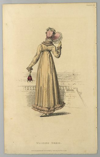Woman standig by a railing, facing out to sea. She wears a yellow dress with pink trim, and a pink bonnet. Title below. Made in: London, England. Date: 1810s. Record ID: chndm_1962-143-8.
