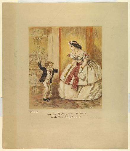Young woman in ballgown and flowers, right, confronted by a very young man; doorway to the dancing room behind him. Title and comment below, and artist's and publisher's names and dates. Print maker: John Leech, English, 1817 – 1864. Made in: Paris, France. Date: 1860s. Record ID: chndm_1962-143-80.