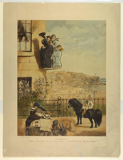 House, left, overlooking a beach and rocks. Four girls on a small balcony, others at a window. A young man on a pony below, right. Title and comment, artist's and publisher's names and date below. Print maker: John Leech, English, 1817 – 1864. Made in: Paris, France. Date: 1860s. Record ID: chndm_1962-143-81.
