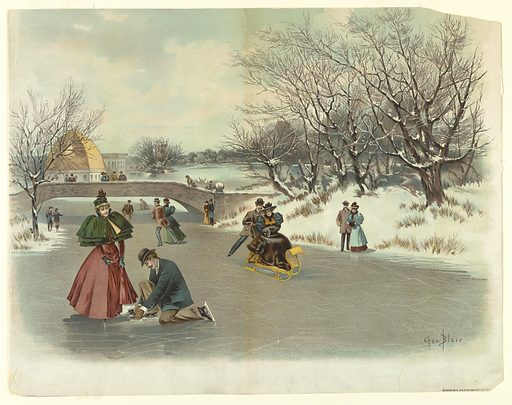 People sledding and skating on ice; bridge left, with observers, building beyond. Foreground left, man kneeling to fix his partner's skate. Artist's name and title, lower right. Made in: USA. Date: 1880s. Record ID: chndm_1962-143-91.